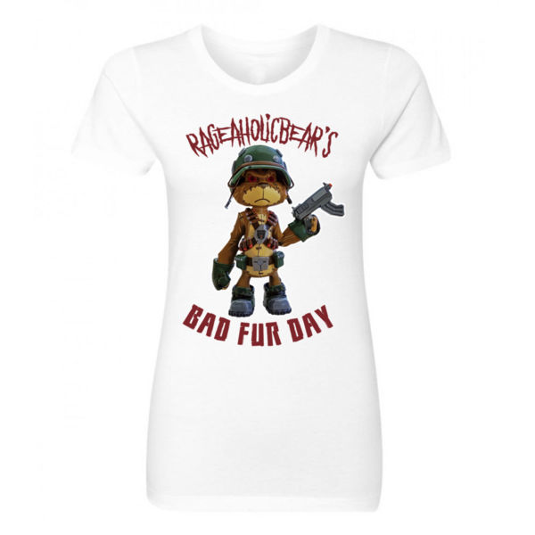 BAD FUR DAY - PREMIUM WOMEN'S FITTED T-SHIRT - WHITE Thumbnail