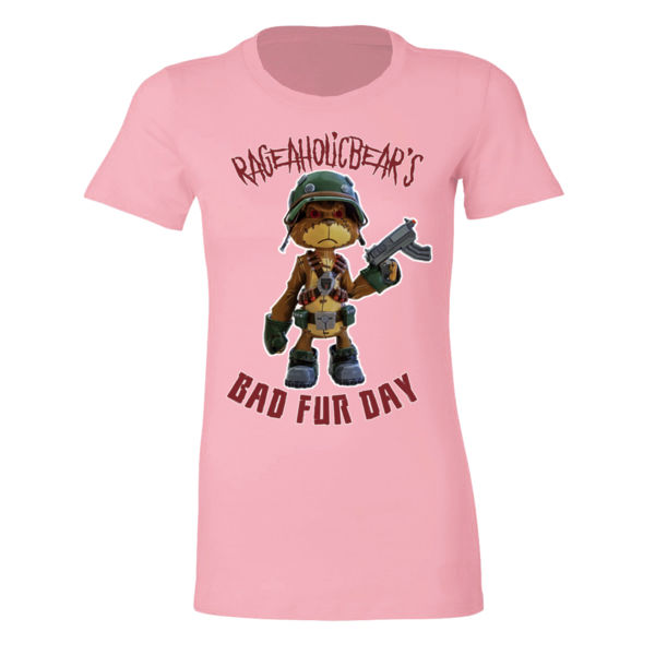 BAD FUR DAY - PREMIUM WOMEN'S FITTED T-SHIRT - LIGHT PINK Thumbnail